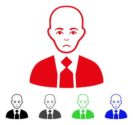 Unhappy Bald Boss vector pictograph. Vector illustration style is a flat iconic bald boss symbol with gray, black, blue, red, green color versions. Face has dolor mood.