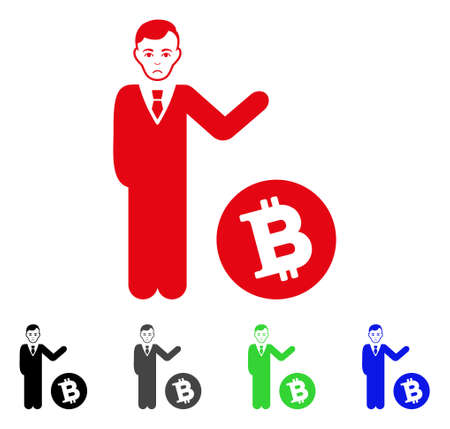 Dolor Bitcoin Businessman vector pictogram. Vector illustration style is a flat iconic bitcoin businessman symbol with grey, black, blue, red, green color versions. Face has sadly sentiment. Ilustrace