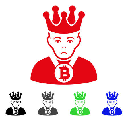 Pitiful Bitcoin King vector icon. Vector illustration style is a flat iconic bitcoin king symbol with grey, black, blue, red, green color versions. Face has desperate sentiment.