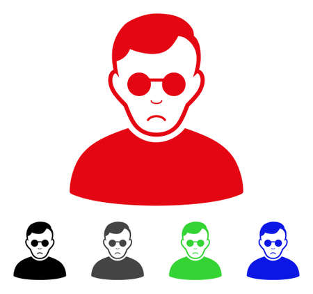 Pitiful Blind Man vector pictogram. Vector illustration style is a flat iconic blind man symbol with grey, black, blue, red, green color variants. Face has sadly emotions.