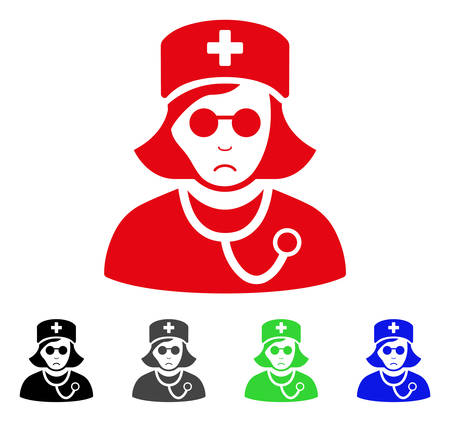 Sadly Blind Nurse vector pictograph. Vector illustration style is a flat iconic blind nurse symbol with grey, black, blue, red, green color versions. Face has mourning mood.