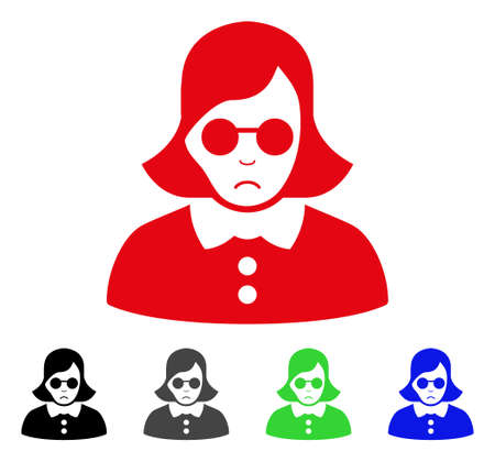 Sadly Blind Woman vector pictogram. Vector illustration style is a flat iconic blind woman symbol with gray, black, blue, red, green color versions. Face has stress sentiment.