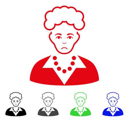 Sadly Blonde Lady vector pictogram. Vector illustration style is a flat iconic blonde lady symbol with gray, black, blue, red, green color variants. Face has desperate mood. Ilustrace
