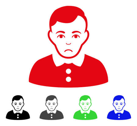Unhappy Boy vector pictogram. Vector illustration style is a flat iconic boy symbol with gray, black, blue, red, green color versions. Face has depression mood.