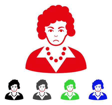Dolor Brunette Lady vector pictograph. Vector illustration style is a flat iconic brunette lady symbol with gray, black, blue, red, green color variants. Face has sad emotion.