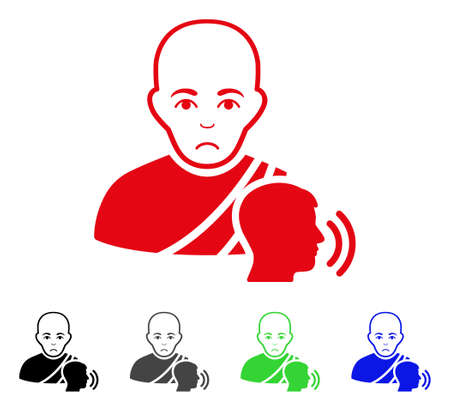 Unhappy Buddhist Confession vector pictograph. Vector illustration style is a flat iconic buddhist confession symbol with gray, black, blue, red, green color variants. Face has sorrow feeling. Vettoriali