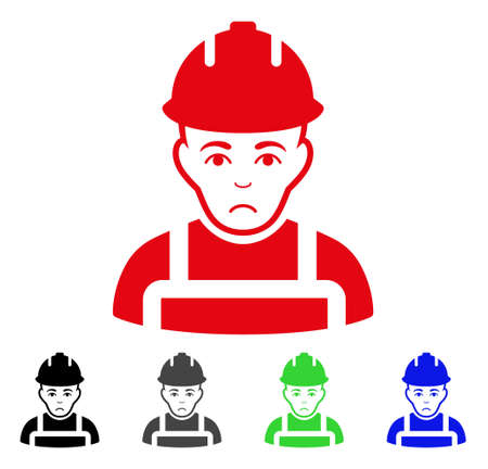 Dolor Builder vector pictogram. Vector illustration style is a flat iconic builder symbol with grey, black, blue, red, green color versions. Face has unhappy mood.