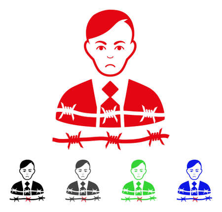 Dolor Businessman Arrest vector icon. Vector illustration style is a flat iconic businessman arrest symbol with gray, black, blue, red, green color versions. Face has sorrow feeling.