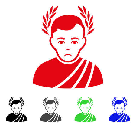 Sadly Caesar Wreath vector icon. Vector illustration style is a flat iconic caesar wreath symbol with gray, black, blue, red, green color variants. Face has depression expression.