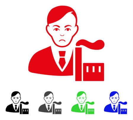 Pitiful Capitalist Oligarch vector pictograph. Vector illustration style is a flat iconic capitalist oligarch symbol with gray, black, blue, red, green color variants. Face has stress mood.