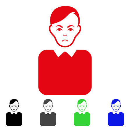 Dolor Bureaucrat vector pictograph. Vector illustration style is a flat iconic bureaucrat symbol with grey, black, blue, red, green color versions. Face has stress emotions.