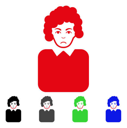 Dolor Bureaucrat Lady vector pictograph. Vector illustration style is a flat iconic bureaucrat lady symbol with grey, black, blue, red, green color versions. Face has unhappy expression.