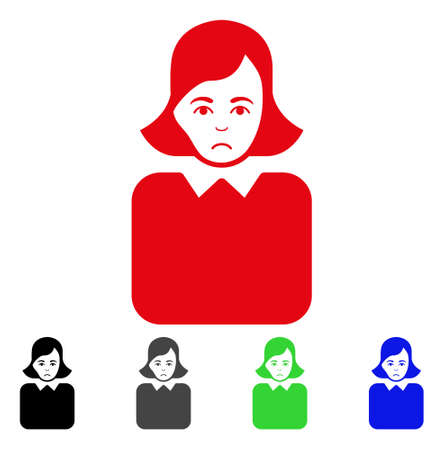 Sadly Bureaucrat Woman vector pictograph. Vector illustration style is a flat iconic bureaucrat woman symbol with grey, black, blue, red, green color variants. Face has desperate emotions.