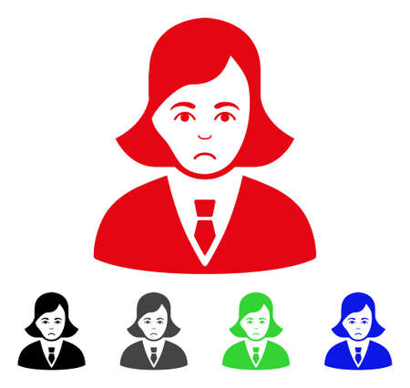 Dolor Business Lady vector icon. Vector illustration style is a flat iconic business lady symbol with grey, black, blue, red, green color versions. Face has stress feeling. Illustration