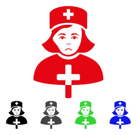Pitiful Catholic Lady Doctor vector icon. Vector illustration style is a flat iconic catholic lady doctor symbol with grey, black, blue, red, green color variants. Face has depression emotion.
