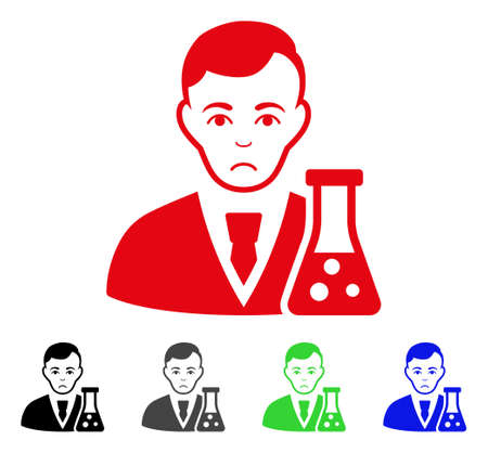 Unhappy Chemical Scientist vector pictogram. Vector illustration style is a flat iconic chemical scientist symbol with gray, black, blue, red, green color variants. Face has sad expression.