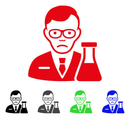 Sadly Chemist vector pictogram. Vector illustration style is a flat iconic chemist symbol.