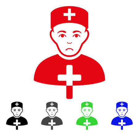 Sadly Church Doctor vector pictogram. Vector illustration style is a flat iconic church doctor symbol with gray, black, blue, red, green color versions. Face has grief emotions.