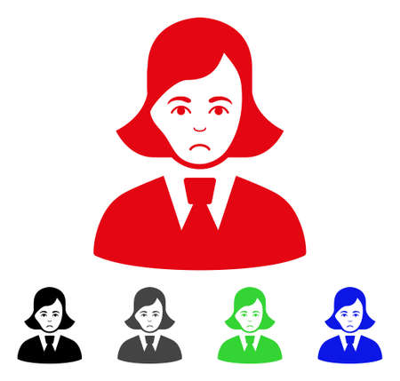Unhappy clerk lady vector icon. Vector illustration style is a flat iconic clerk lady symbol with grey, black, blue, red, green color versions. Face has grief expression. Ilustração