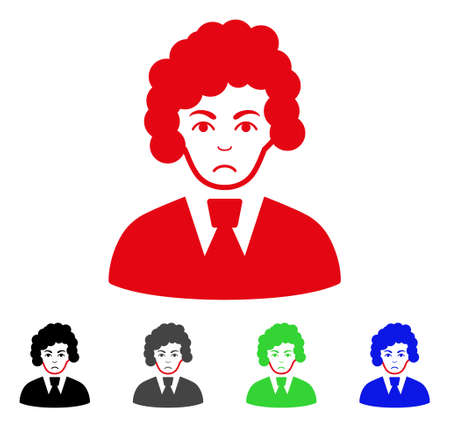 Sadly Clerk Woman vector pictogram. Vector illustration style is a flat iconic clerk woman symbol with gray, black, blue, red, green color versions. Face has depressed emotion. Illustration