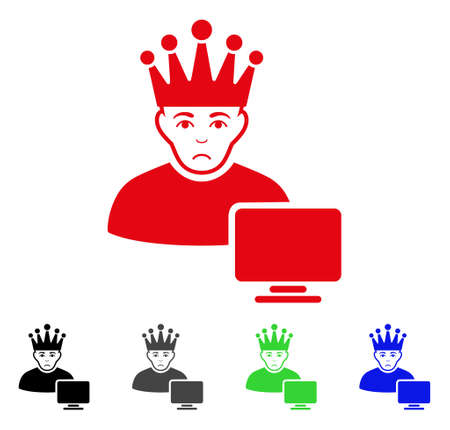 Sadly computer moderator vector pictogram. Vector illustration style is a flat iconic computer moderator symbol with gray, black, blue, red, green color variants. Face has stress emotion.