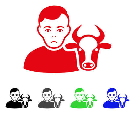 Dolor Cow Farmer vector pictograph. Vector illustration style is a flat iconic cow farmer symbol with gray, black, blue, red, green color versions. Face has desperate feeling. Illustration