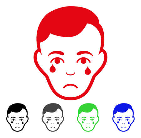 Pitiful Crying Man Face vector pictogram. Vector illustration style is a flat iconic crying man face symbol with grey, black, blue, red, green color versions. Face has depression sentiment.