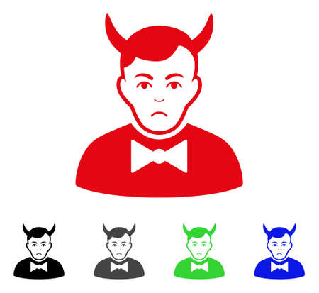 Sad devil vector pictogram. Vector illustration style is a flat iconic devil symbol with gray, black, blue, red, green color variants. Face has stress emotion.