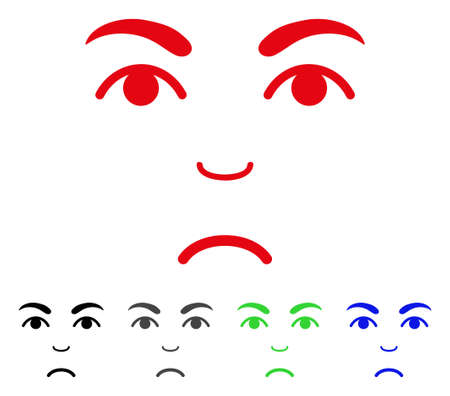 Sad Face vector pictogram. Vector illustration style is a flat iconic face symbol with gray, black, blue, red, green color variants. Face has stress emotion. Illustration