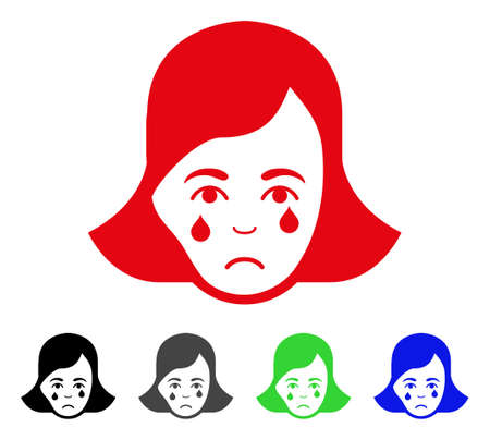 Sad Crying Woman Face pictogram  in different colors.