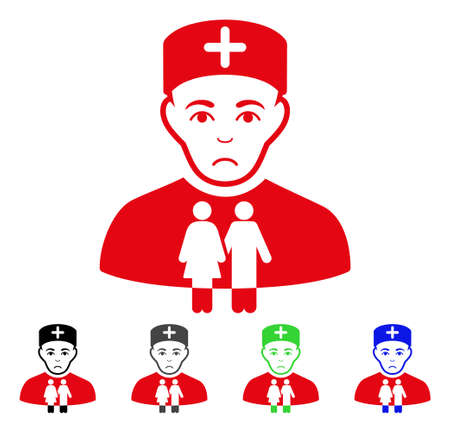 Pitiful Family Doctor vector icon. Vector illustration style is a flat iconic family doctor symbol with grey, black, blue, red, green color variants. Face has pitiful feeling.
