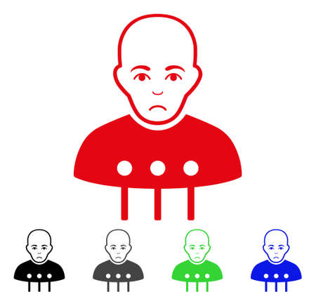 Pitiful cyborg interface vector pictograph. Vector illustration style is a flat iconic cyborg interface symbol with gray, black, blue, red, green color variants. Face has mourning mood.