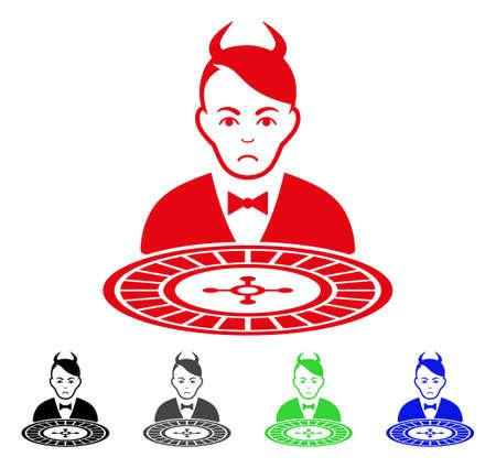 Unhappy Devil Roulette Dealer pictograph  in different colors.