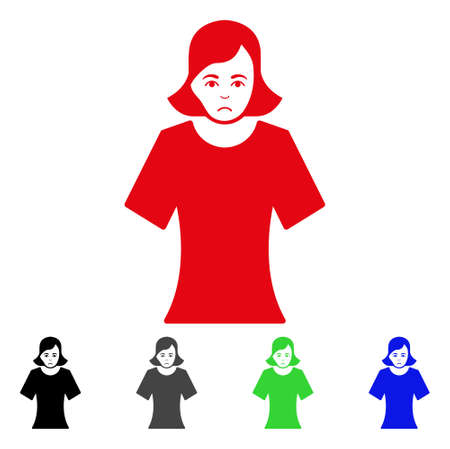 Pitiful Female vector pictogram. Vector illustration style is a flat iconic female symbol with grey, black, blue, red, green color variants. Face has problem emotion. Illustration