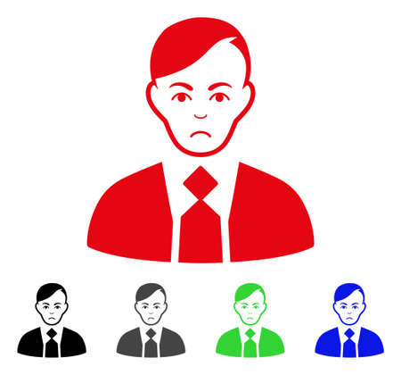 Sad Fuhrer vector pictogram. Vector illustration style is a flat iconic fuhrer symbol with gray, black, blue, red, green color variants. Face has sad mood.