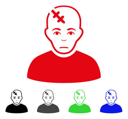 Unhappy Head Hurt vector icon. Vector illustration style is a flat iconic head hurt symbol with gray, black, blue, red, green color versions. Face has sorrow expression.
