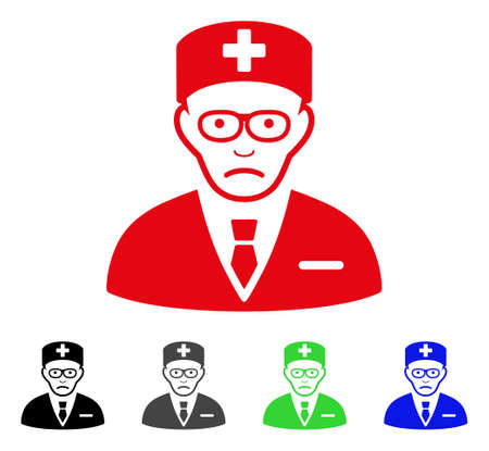 Dolor Head Physician vector pictograph. Vector illustration style is a flat iconic head physician symbol with grey, black, blue, red, green color variants. Face has unhappy sentiment.