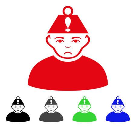 Icône de vecteur de stress tête pitoyable. Le style d'illustration vectorielle est un symbole de stress plat emblématique avec des versions de couleur grise, noire, bleue, rouge et verte. Le visage a une émotion dépressive.