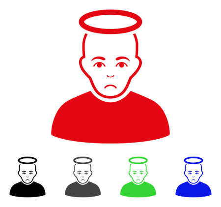 Unhappy Holy Man vector icon. Vector illustration style is a flat iconic holy man symbol with grey, black, blue, red, green color versions. Face has affliction emotions. Illustration