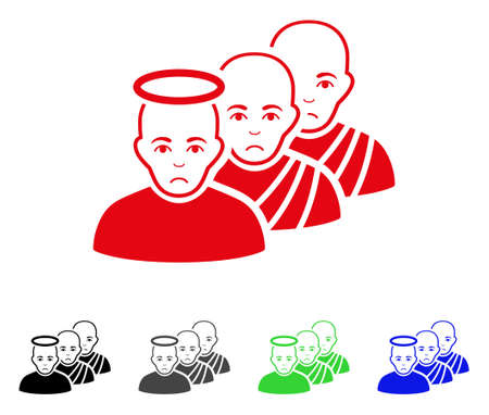 Pitiful Holy Men vector pictogram. Vector illustration style is a flat iconic holy men symbol with grey, black, blue, red, green color versions. Face has dolor mood.