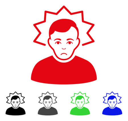 Dolor Inventor vector pictograph. Vector illustration style is a flat iconic inventor symbol with grey, black, blue, red, green color variants. Face has desperate mood. Illustration