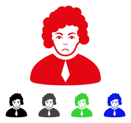 Dolor Judge vector pictogram. Vector illustration style is a flat iconic judge symbol with gray, black, blue, red, green color variants. Face has sadly emotion.