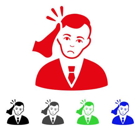 Unhappy kick boxer victim icon in different colors. Illustration