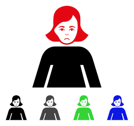 Sad lady icon in different colors.