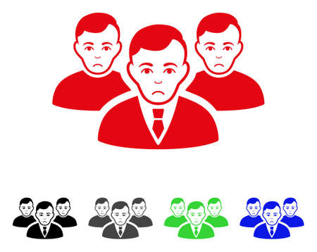 Unhappy Men vector icon. Vector illustration style is a flat iconic men symbol with gray, black, blue, red, green color variants. Face has stress emotion.