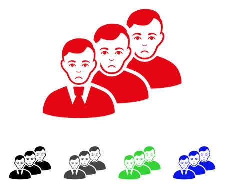 Dolor Men Queue vector icon. Vector illustration style is a flat iconic men queue symbol with gray, black, blue, red, green color variants. Face has sadly mood.