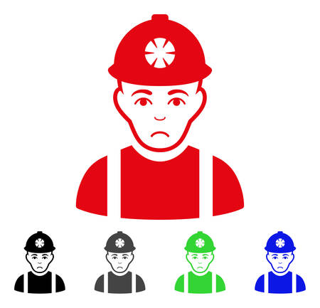 Sad Miner vector icon. Vector illustration style is a flat iconic miner symbol with grey, black, blue, red, green color versions. Face has desperate emotions. Illustration