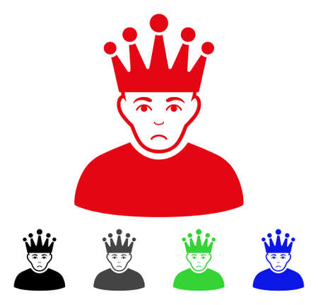 Unhappy Moderator vector pictograph. Vector illustration style is a flat iconic moderator symbol with gray, black, blue, red, green color variants. Face has sad emotion.