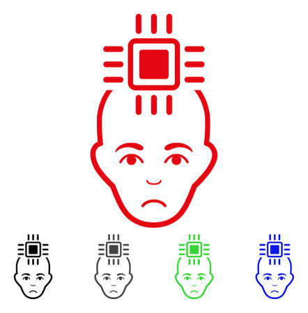 Pitiful Neural Computer Interface vector pictogram. Vector illustration style is a flat iconic neural computer interface symbol with gray, black, blue, red, green color versions.