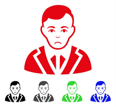 Sad Noble Gentleman vector pictogram. Vector illustration style is a flat iconic noble gentleman symbol with grey, black, blue, red, green color variants. Face has stress sentiment.